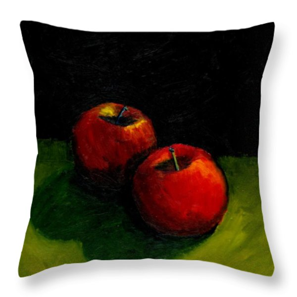 Two Red Apples Still Life Throw Pillow by Michelle Calkins