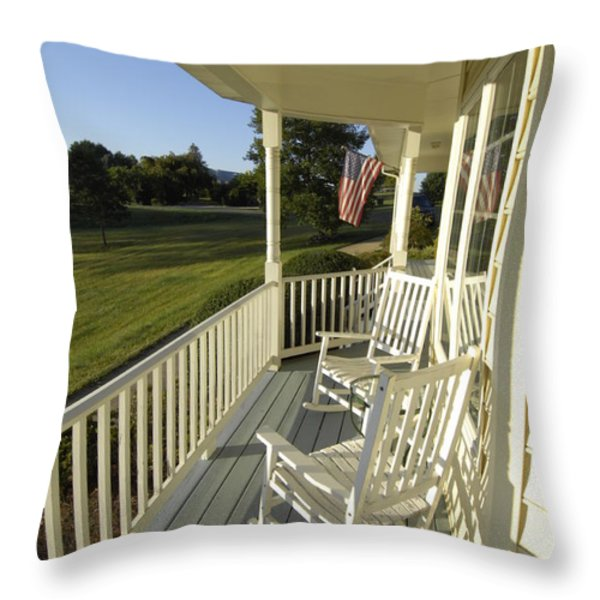 Two Rocking Chairs On A Sunlit Porch Throw Pillow by Scott Sroka