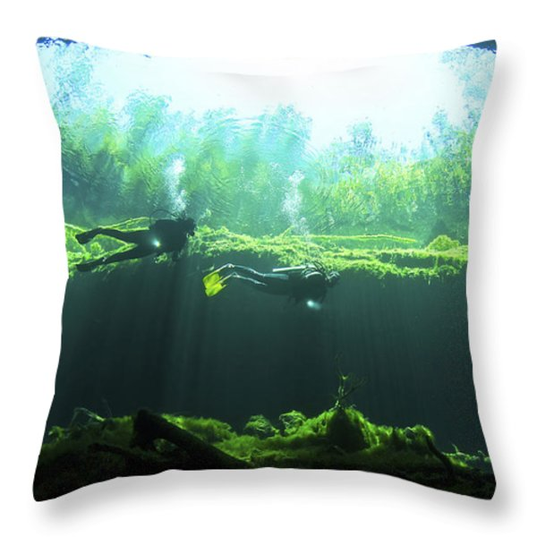 Two Scuba Divers In The Cenote System Throw Pillow by Karen Doody