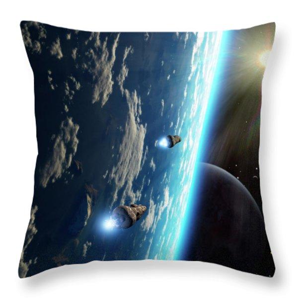 Two Survey Craft Orbit A Terrestrial Throw Pillow by Brian Christensen