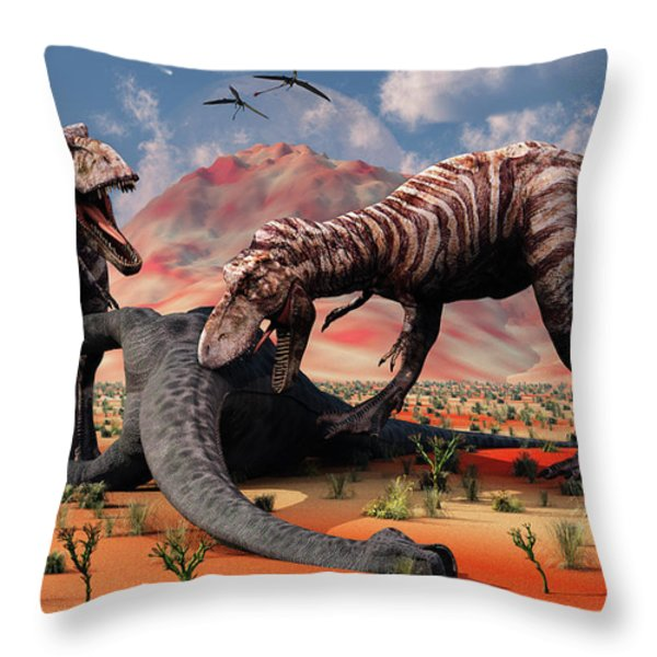 Two T. Rex Dinosaurs Feed Throw Pillow by Mark Stevenson