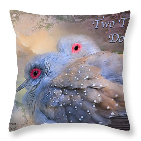Two Turtle Doves Card Throw Pillow by Carol Cavalaris