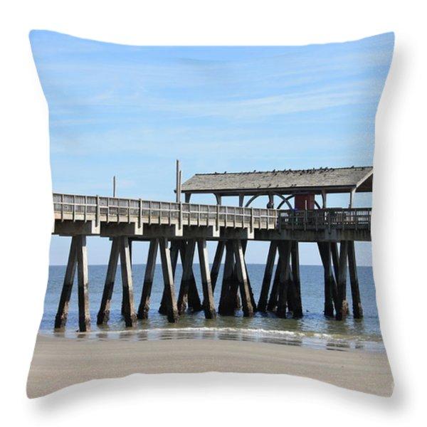 Tybee Island Pier Closeup Throw Pillow by Carol Groenen