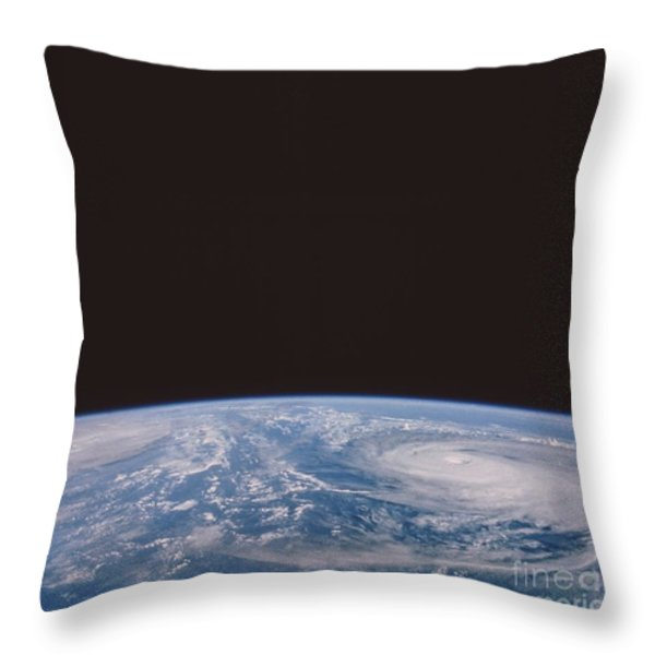 Typhoons Odessa And Pat, Seen Throw Pillow by NASA / Science Source