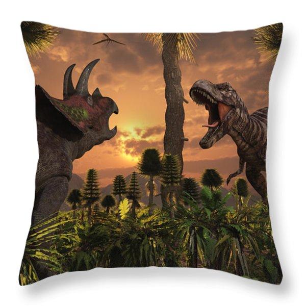 Tyrannosaurus Rex And Triceratops Meet Throw Pillow by Mark Stevenson