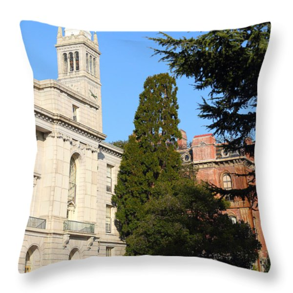 UC Berkeley . Sather Tower Campanile . Wheeler Hall . South Hall Built 1873 . 7D10040 Throw Pillow by Wingsdomain Art and Photography
