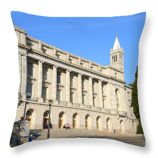 UC Berkeley . Sather Tower Campanile . Wheeler Hall . South Hall Built 1873 . 7D10043 Throw Pillow by Wingsdomain Art and Photography