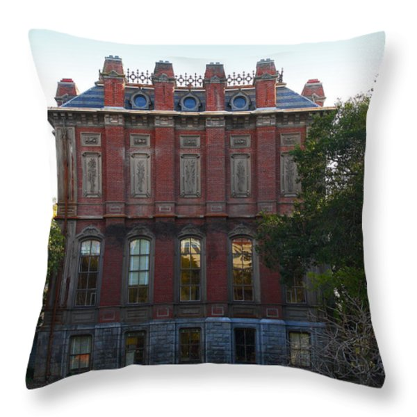 UC Berkeley . South Hall . Oldest Building At UC Berkeley . Built 1873 . 7D10053 Throw Pillow by Wingsdomain Art and Photography
