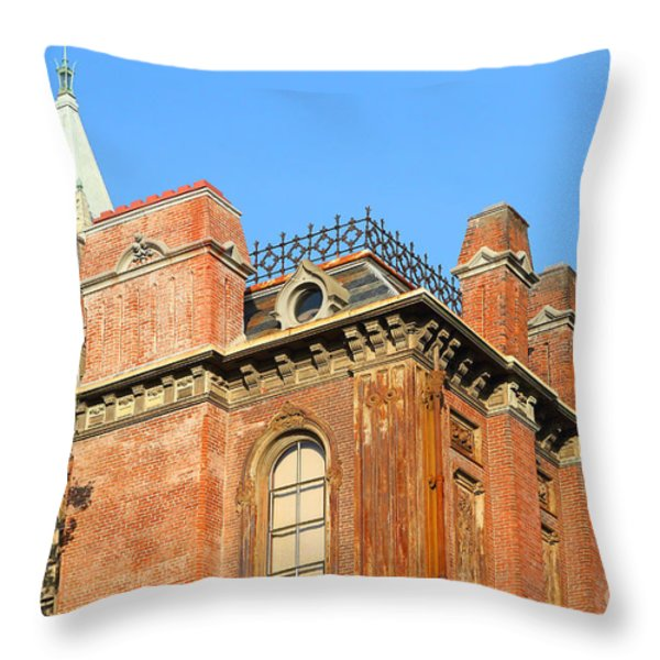 UC Berkeley . South Hall . Oldest Building At UC Berkeley . Built 1873 . The Campanile in The Backgr Throw Pillow by Wingsdomain Art and Photography