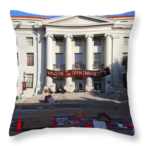 UC Berkeley . Sproul Hall . Sproul Plaza . Occupy UC Berkeley . 7D10017 Throw Pillow by Wingsdomain Art and Photography