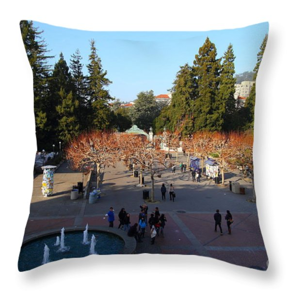 Uc Berkeley . Sproul Hall . Sproul Plaza . Sather Gate And Sather Tower Campanile . 7d10003 Throw Pillow by Wingsdomain Art and Photography