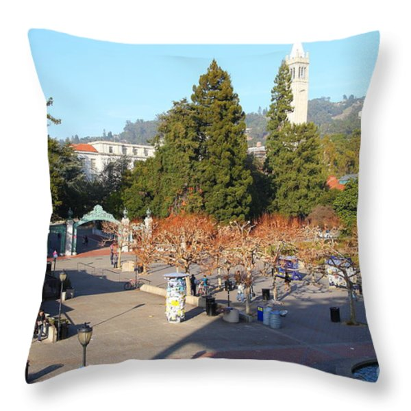 UC Berkeley . Sproul Hall . Sproul Plaza . Sather Gate and Sather Tower Campanile . 7D10016 Throw Pillow by Wingsdomain Art and Photography