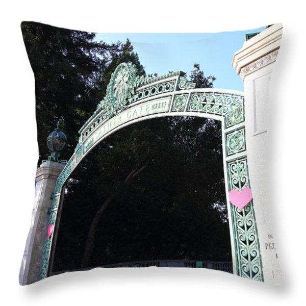 Uc Berkeley . Sproul Plaza . Sather Gate . 7d10035 Throw Pillow by Wingsdomain Art and Photography