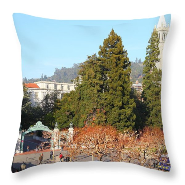 Uc Berkeley . Sproul Plaza . Sather Gate And Sather Tower Campanile . 7d10015 Throw Pillow by Wingsdomain Art and Photography