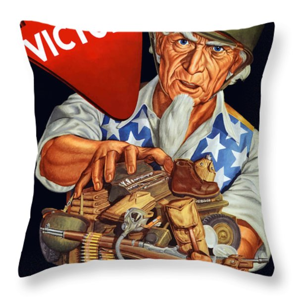 Uncle Sam Yours For Victory Throw Pillow by War Is Hell Store
