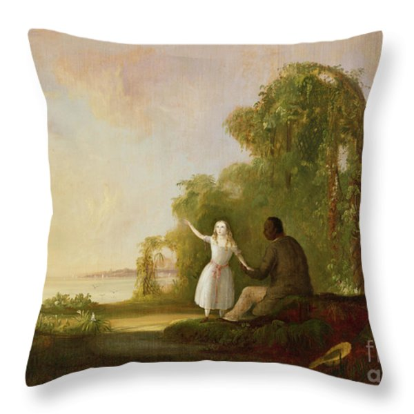 Uncle Tom And Little Eva Throw Pillow by Robert Scott Duncanson