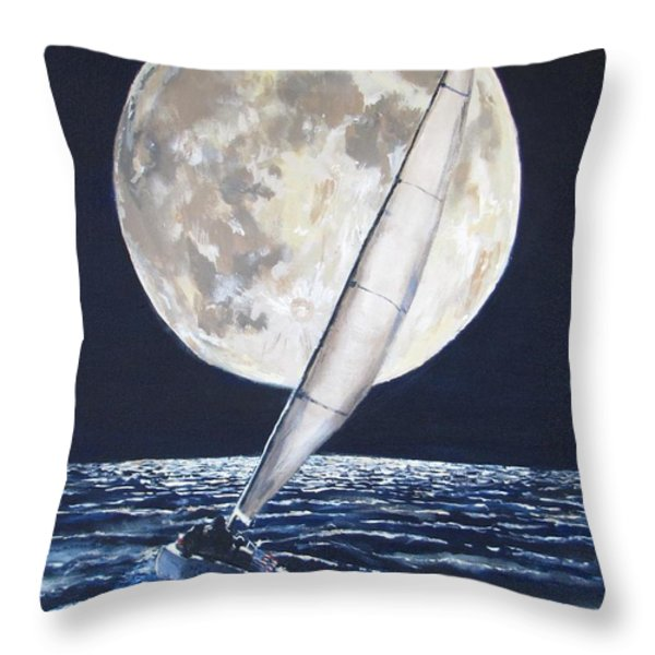 Under Full Sail..Under Full Moon Throw Pillow by Jack Skinner
