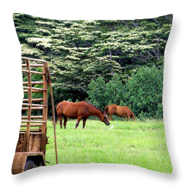 Under the Albesias Throw Pillow by Mary Deal