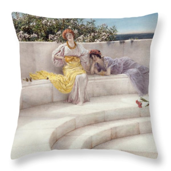 Under The Roof Of Blue Ionian Weather Throw Pillow by Sir Lawrence Alma-Tadema