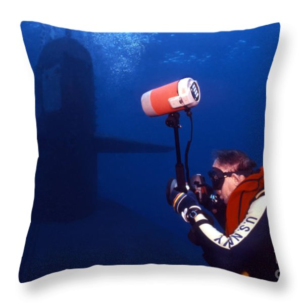 Underwater Photographer Takes Photos Throw Pillow by Michael Wood