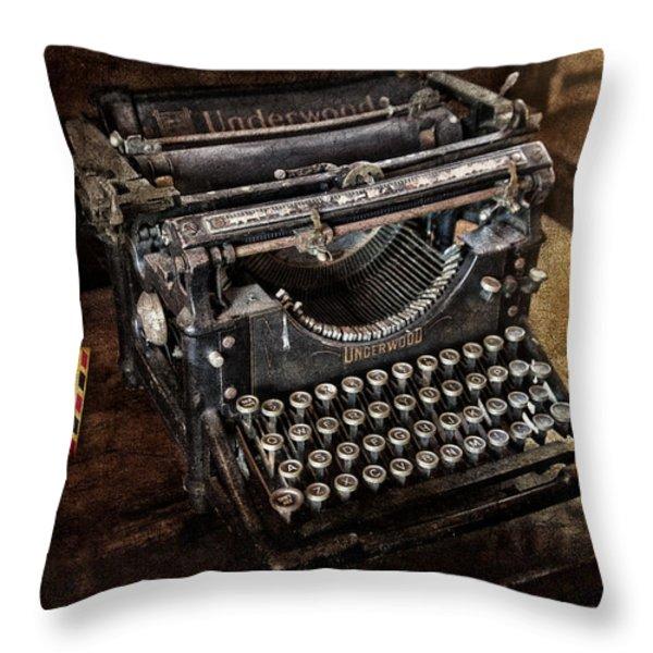 Underwood Typewriter Throw Pillow by Susan Candelario