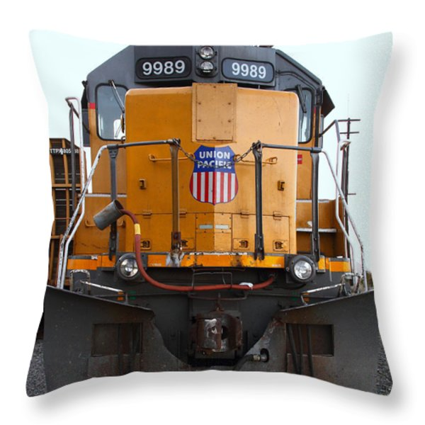 Union Pacific Locomotive Trains . 7D10589 Throw Pillow by Wingsdomain Art and Photography