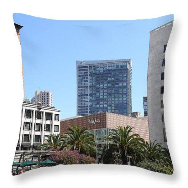Union Square San Francisco Throw Pillow by Wingsdomain Art and Photography