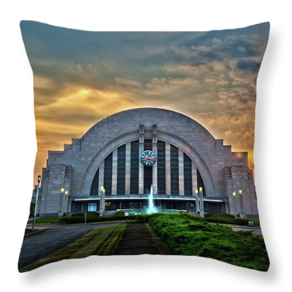 Union Terminal At Sunset Throw Pillow by Keith Allen