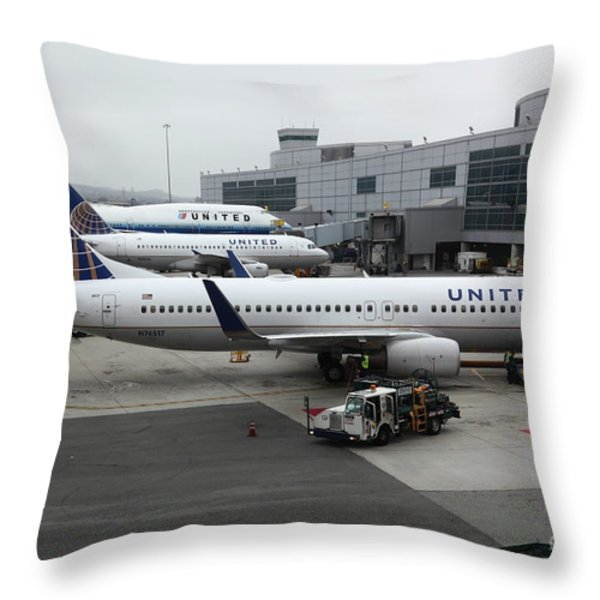 United Airlines At Foggy SFO International Airport . 5D16937 Throw Pillow by Wingsdomain Art and Photography