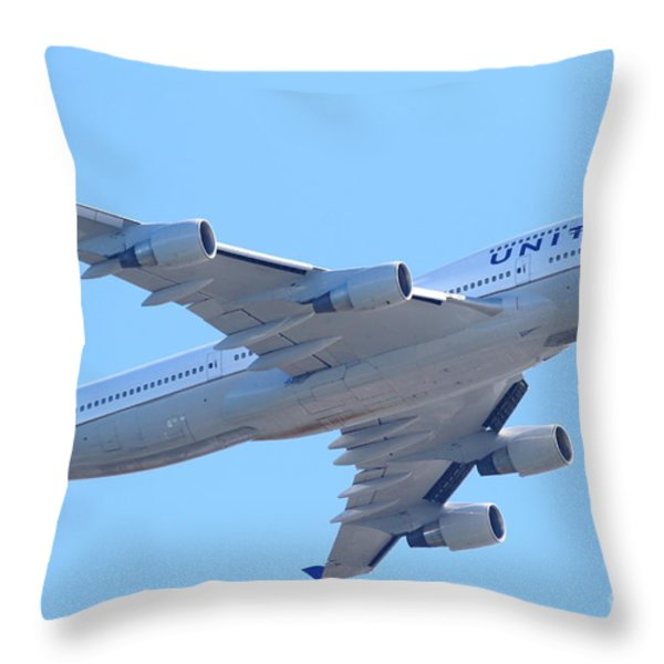 United Airlines Boeing 747 . 7D7838 Throw Pillow by Wingsdomain Art and Photography