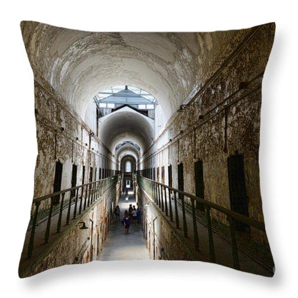 Upper Cell Blocks Throw Pillow by Paul Ward