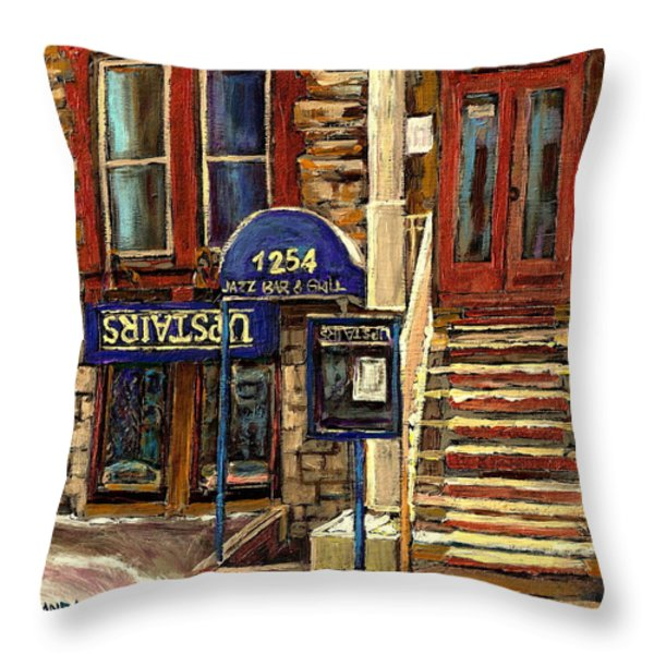 UPSTAIRS JAZZ BAR AND GRILL MONTREAL Throw Pillow by CAROLE SPANDAU