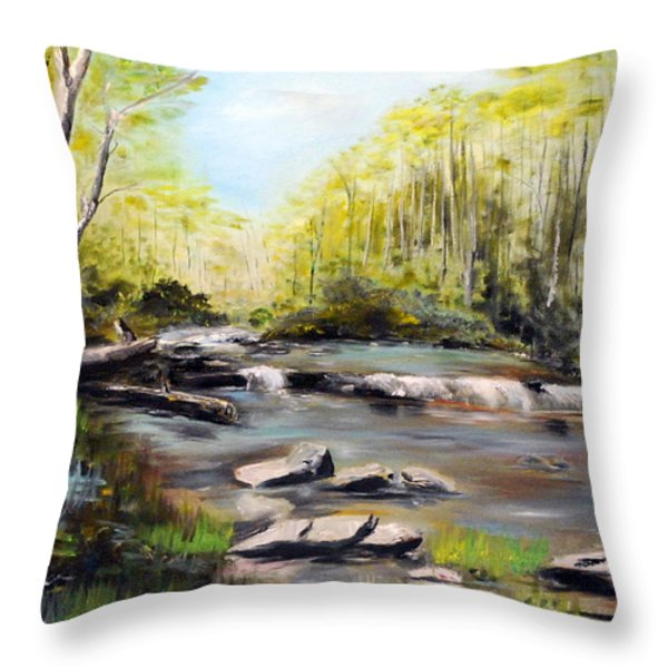 Upstate South Carolina Trout Stream Throw Pillow by Phil Burton