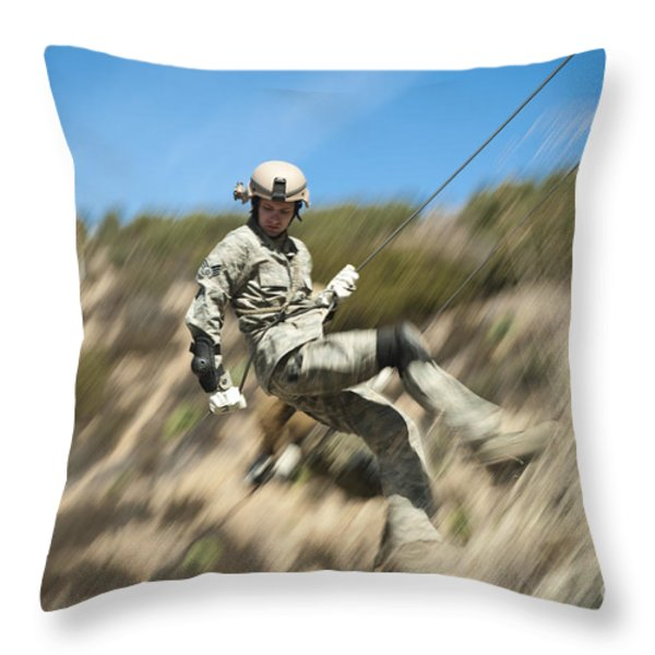 U.s. Air Force Airman Practices Throw Pillow by Stocktrek Images
