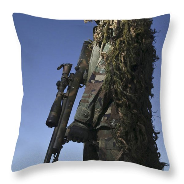 U.s. Air Force Sharpshooter Dressed Throw Pillow by Stocktrek Images