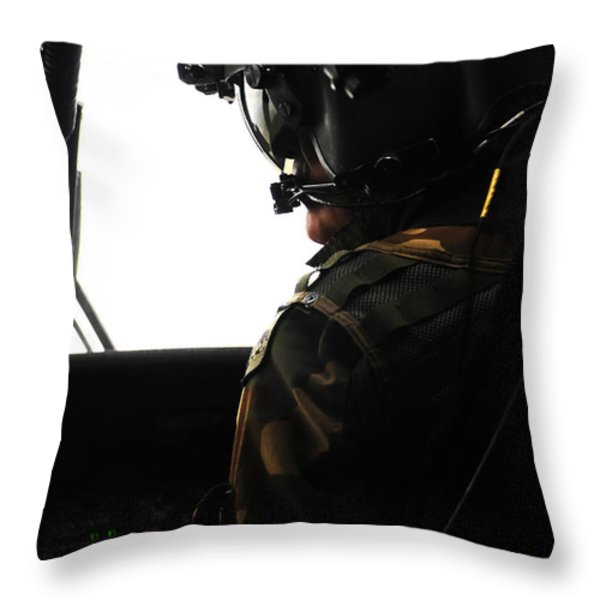 U.s. Army Officer Speaks To A Pilot Throw Pillow by Stocktrek Images