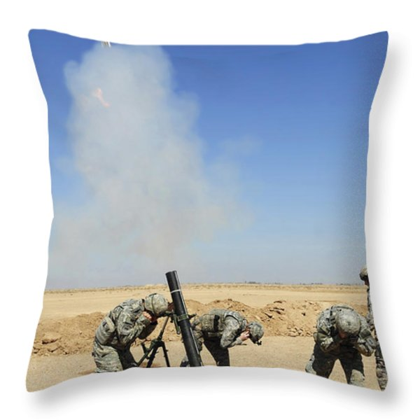 U.s. Army Soldiers Firing An M120 120mm Throw Pillow by Stocktrek Images