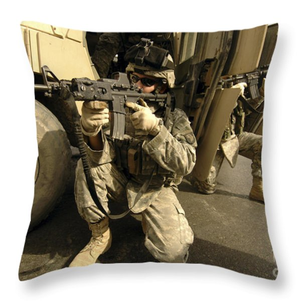 U.s. Army Soldiers Providing Overwatch Throw Pillow by Stocktrek Images