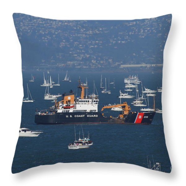 Us Coast Guard Ship Surrounded By Boats In The San Francisco Bay. 7d7895 Throw Pillow by Wingsdomain Art and Photography