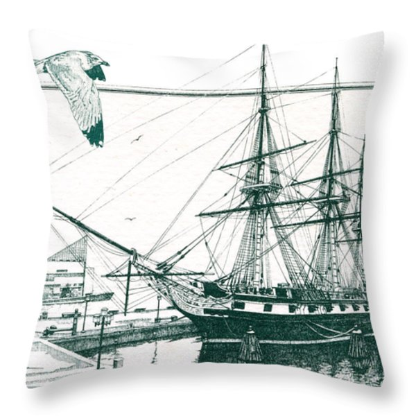 US Frigate Constellation Throw Pillow by John D Benson