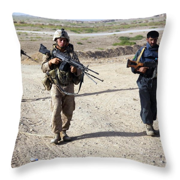 U.s. Marines And Afghan National Police Throw Pillow by Stocktrek Images