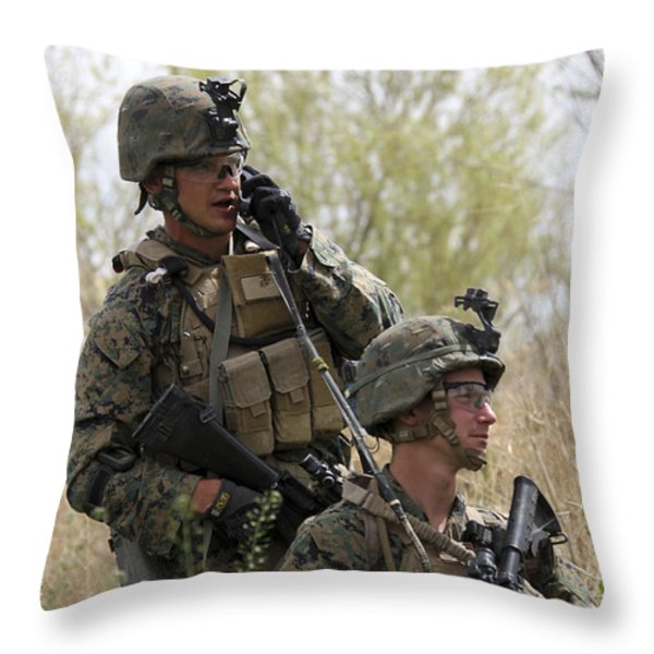 U.s. Marines Communicate Throw Pillow by Stocktrek Images