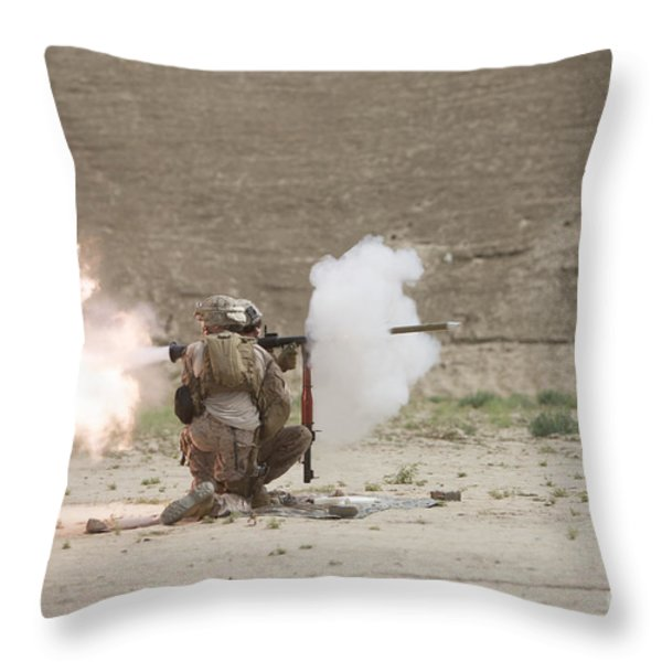 U.s. Marines Fire A Rpg-7 Grenade Throw Pillow by Terry Moore