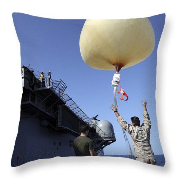 U.s. Marines Launch A Combat Skysat Throw Pillow by Stocktrek Images