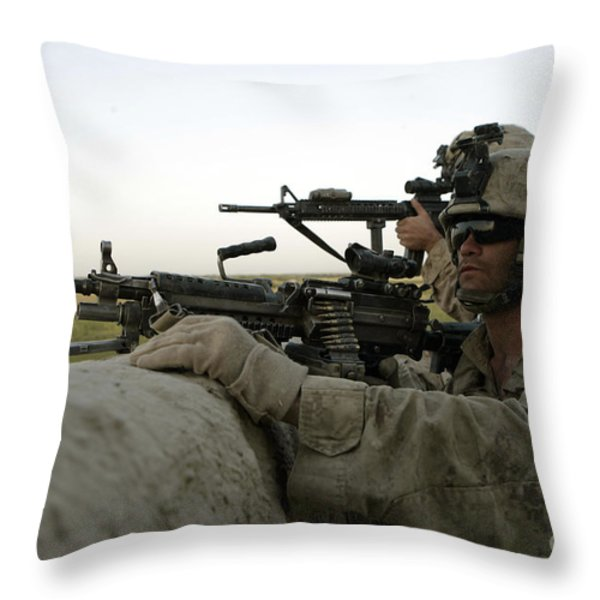 U.s. Marines Observe The Movement Throw Pillow by Stocktrek Images