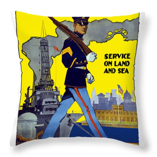 U.s. Marines Service On Land And Sea Throw Pillow by War Is Hell Store