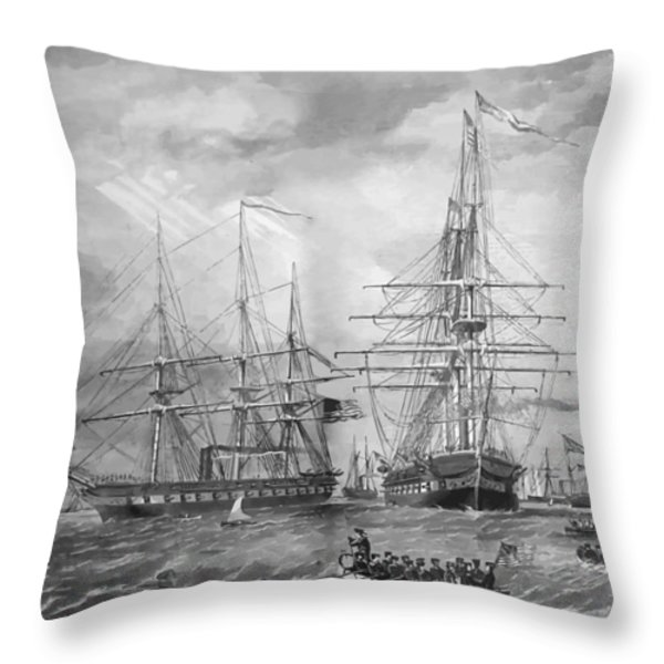 U.S. Naval Fleet During The Civil War Throw Pillow by War Is Hell Store