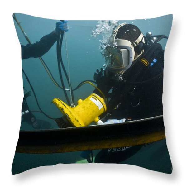 U.s. Navy Diver Instructs A Barbados Throw Pillow by Stocktrek Images