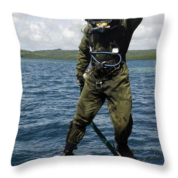 U.s. Navy Diver Jumps Off A Dive Throw Pillow by Stocktrek Images