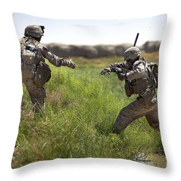 U.s. Navy Petty Officer Extends Throw Pillow by Stocktrek Images